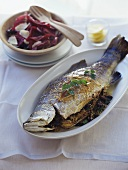 Barramundi with olive and pine nut stuffing
