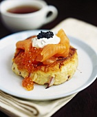Smoked salmon with caviare on potato cakes
