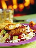 Roast chicken on rice, tomatoes, avocado and corncob