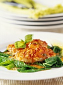 Fish fillet with tomato sauce on leafy vegetables