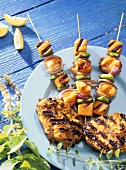 Grilled swordfish and fish and vegetable kebabs