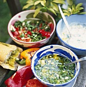 Coriander marinade, yoghurt dip, pepper salad & garlic bread