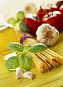 Zutaten für italienisches Nudelgericht