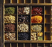 Various pulses in wooden box