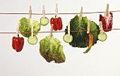 Vegetables on a washing line