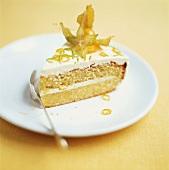 A piece of lemon cream cake