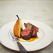 Peppered steak with caramelised pear