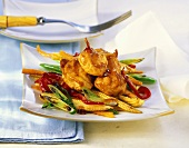 Crispy chicken breast with vegetables and oyster sauce