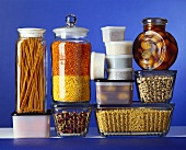Storage containers with pulses, pasta, pistachios etc
