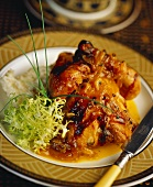 Roast chicken with curried mango sauce