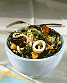 Cuttlefish salad with black pasta