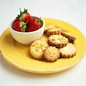 Almond biscuits and fresh strawberries