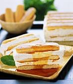 Sponge cream slice with maple syrup