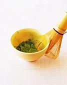 Tea whisk with green tea powder