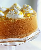 Orange cake with cream topping