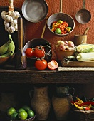 Vegetables, old pots and pans in kitchen