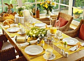 Table laid for Easter breakfast