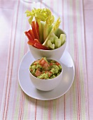 Guacamole with vegetable sticks