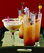 Mexican drinks: Coconut Margarita cocktail, Tequila Sunrise