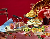 Tex-Mex buffet with appetisers, dips and chips
