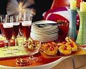 Buffet with Kir Royal, snacks and Hawaiian toast