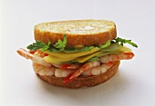 Shrimp and rocket sandwich