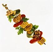 Gemüse-Hähnchen-Spiess