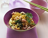 Asian noodles with curried shrimp sauce