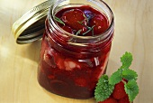 Red fruit compote in glass