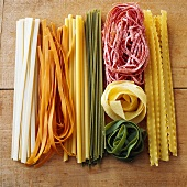 Pasta in various colours
