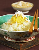 Sticky rice with coconut and mung bean puree
