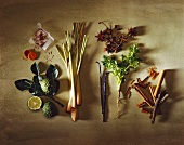 Still life with spices, herbs and kafir lime