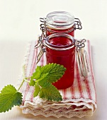 Raspberry jelly with lemon balm