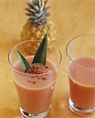 Coconut and pineapple shake with blood oranges