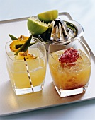 Two cocktails: Fishing for Fruits & Latin Lover