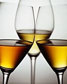 Three glasses of dessert wine