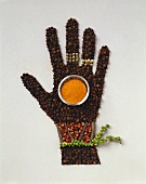 Peppercorn hand holding small bowl of red pepper