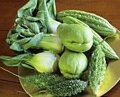 Exotic vegetables (chayote, pak choi, bitter gourd)