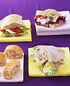 Ciabatta sandwiches and stuffed baguette