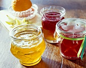 Home-made jellies in jam jars