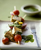 Swordfish and vegetable kebabs with herb sauce