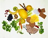Various foods (fruit, vegetables, crispbread etc.)