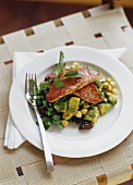 Red mullet on avocado and chick-pea salad