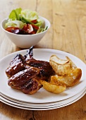 Chicken wings with potato wedges