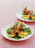 Barbecued chicken and nectarine kebab