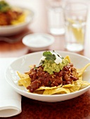 Chili beans on tortilla chips