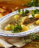 Fried grayling with boiled potatoes