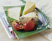Cheese plate with pomegranate