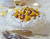 Australian meringue cake (Pavlova) with fruit