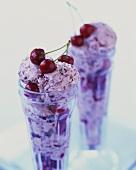 Cherry ice cream in glasses